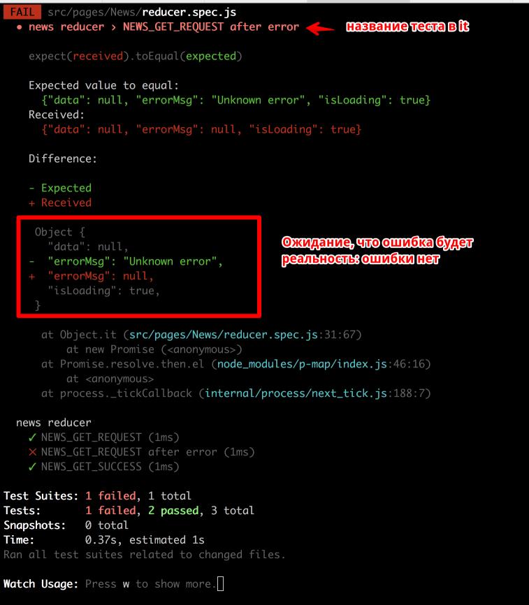 тест request после ошибки в терминале