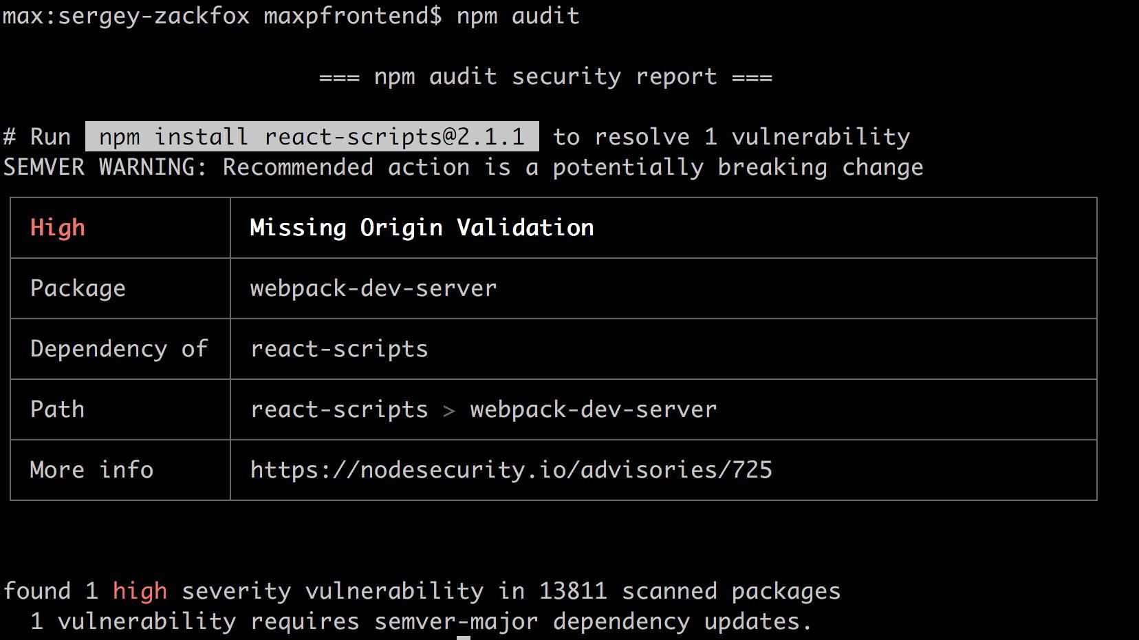 проверка npm пакетов на уязвимости